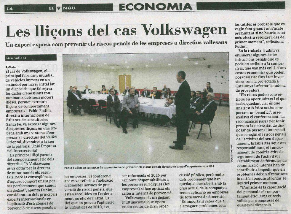articulo El9 Nou tertulia caso Volkswagen
