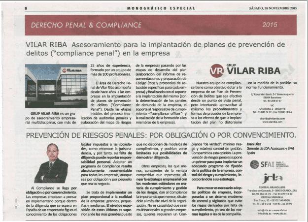 JDA en el especial Derecho Penal & Compliance de La Vanguardia