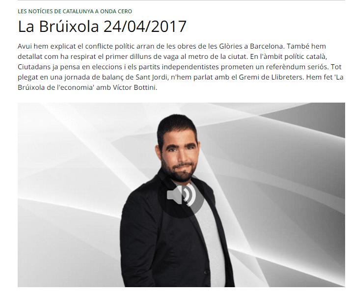 "Joan Díaz en el programa ""La Brúixola de l´economia"" de Onda Cero"