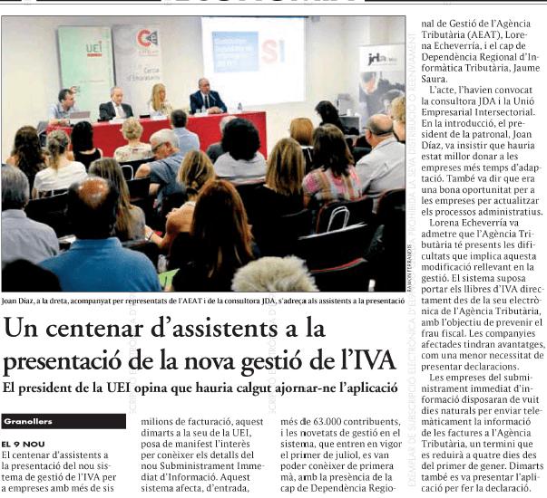 Noticia 9 NOU sobre la jornada sobre el nuevo sistema de gestión del IVA