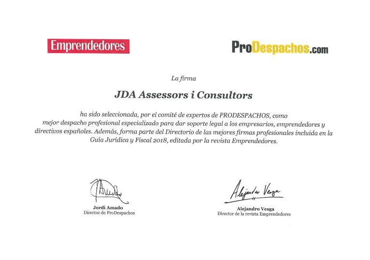 JDA/SFAI seleccionado como mejor despacho profesional para emprendedores