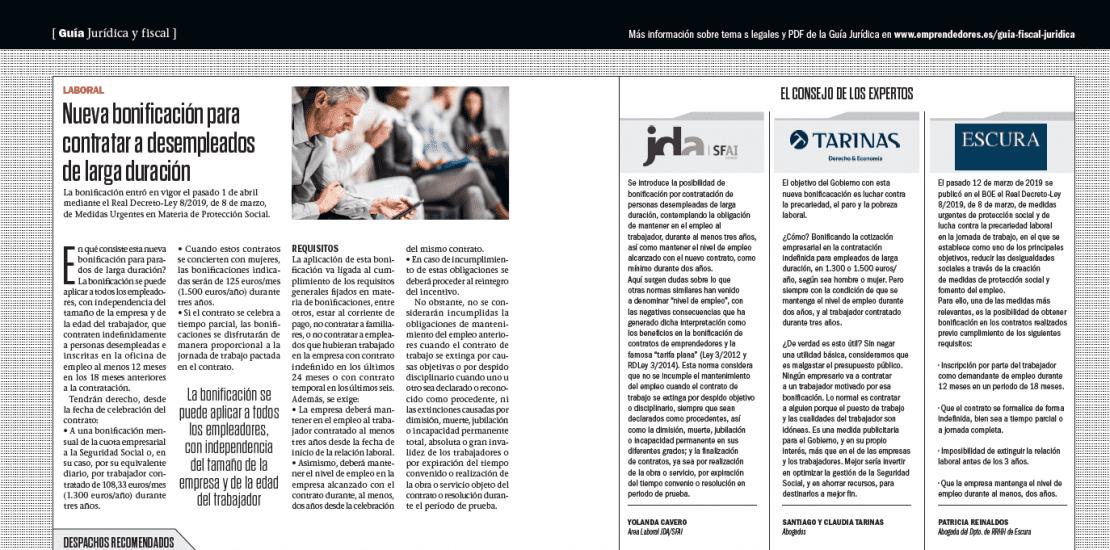 La Revista Emprendedores publica nuestra tribuna de opinión sobre la nueva bonificación de empleados de larga duración