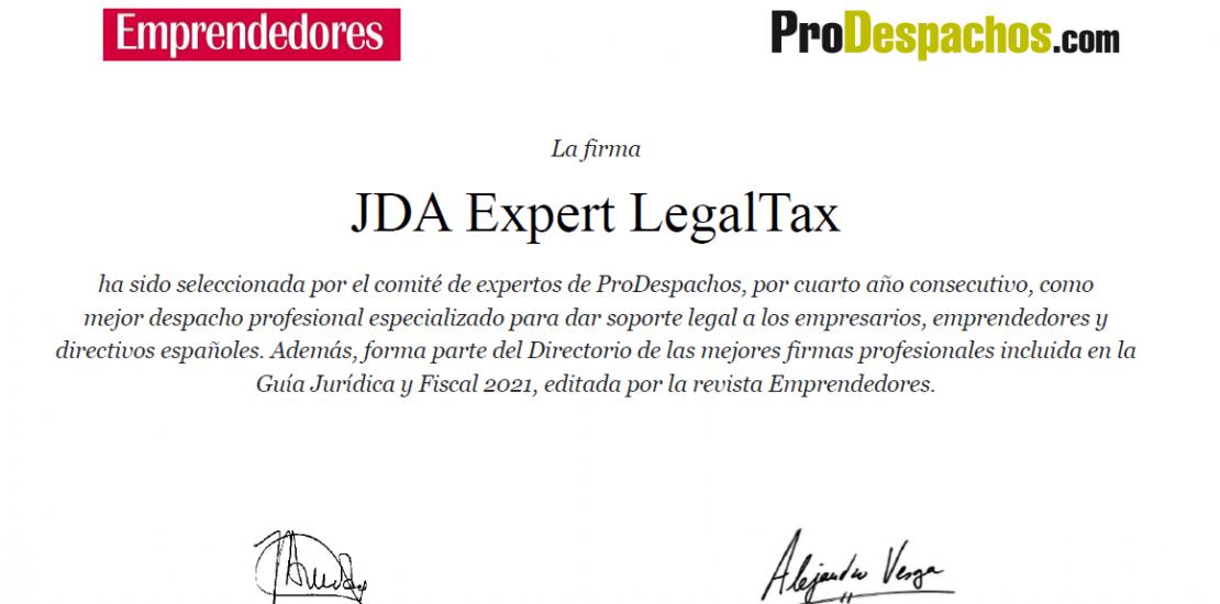 JDA Expert LegalTax: Mejor despacho profesional según el ranking 2021 de la revista Emprendedores y Prodespachos